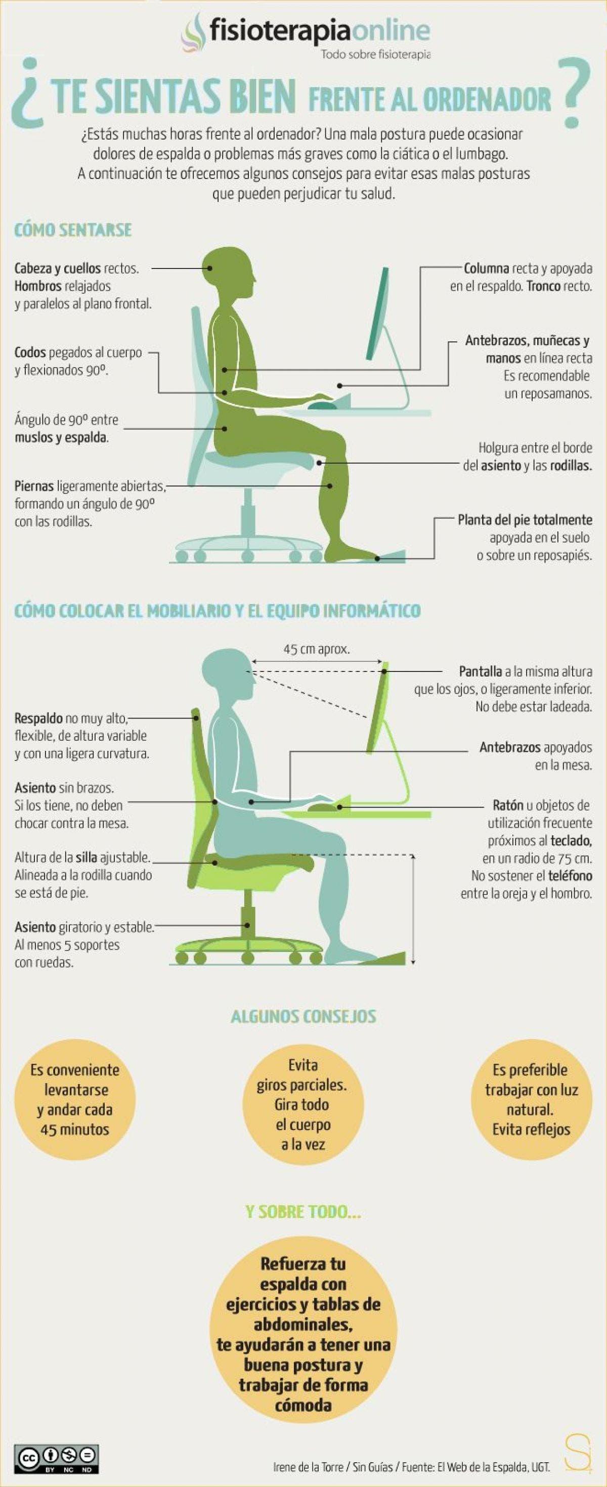 Ergonomía y recomendaciones para sentarse bien frente al ordenador