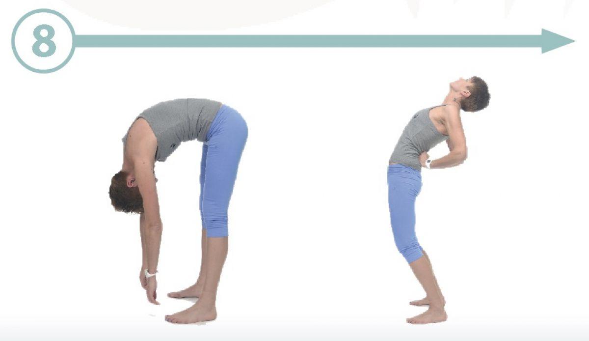 arco de yoga y estiramiento de cadena posterior