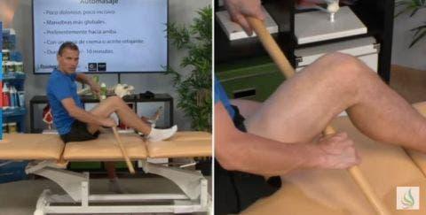 masaje de pierna con palo