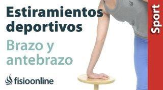 Estiramientos deportivos para relajar la zona posterior del brazo y antebrazo