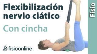 Flexibilización del nervio ciático con cincha.